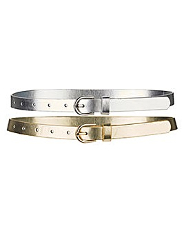 Pack of 2 Metallic Jeans Belts