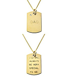 9ct Rolled Gold Diamond Set Dad Pendant