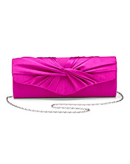 Fuchsia Satin Roll Top Clutch Bag