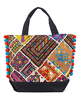 Patchwork Shopper with Pom Poms