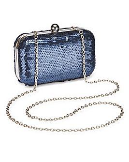 Alice Navy Sequin Clutch Bag