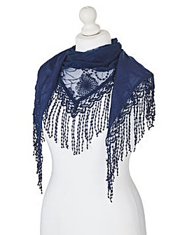 Navy Embroidered Mesh Scarf