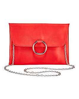 Sophie Red Ring Detail Clutch Bag