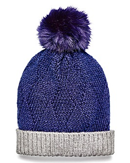 Navy Pom Pom Bobble Hat