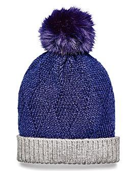 Navy Pom Pom Bobble Hat