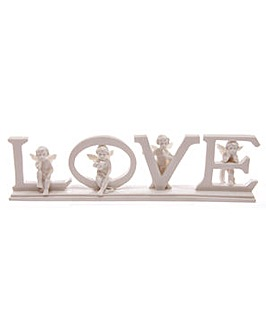 White LOVE Cherub Letters on Base