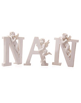 White NAN Cherub Letters Set