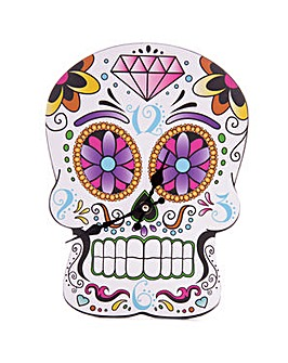 Day of the Dead Skull Shaped Clock