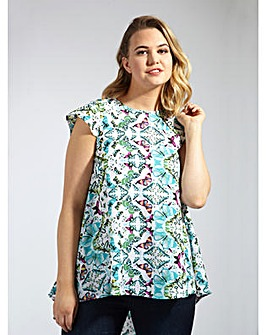 Koko Green Multi Butterfly Print Blouse