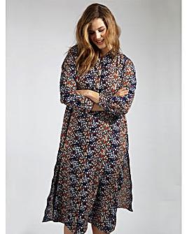 Koko Blue Multi Floral Print Maxi Shirt