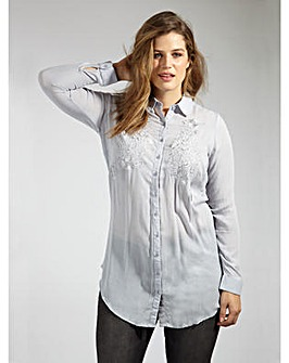 Koko Light Blue Floral Embroidered Shirt