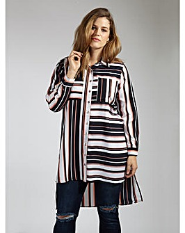 Koko Contrast Stripe Dip Hem Shirt