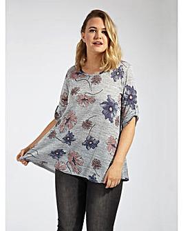 Koko Grey Floral Print Jersey Top