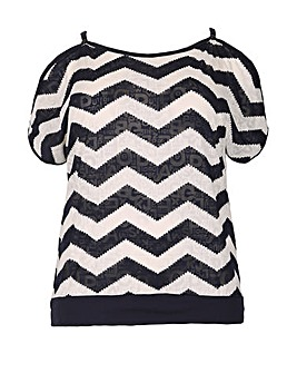 Samya Peep Shoulder Zig Zag Top