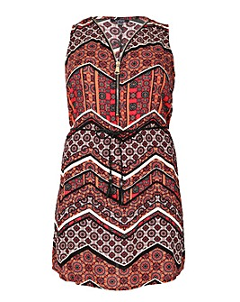 Samya Zip Up Neck Detail Printed Dress