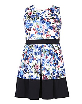 Samya Floral Pleated Fit And Flare Dress