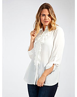 Lovedrobe GB Ruffle Detail Ivory Blouse