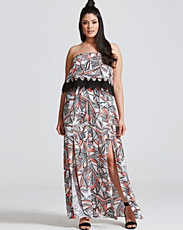 Girls On Film Coral Print Maxi Dress