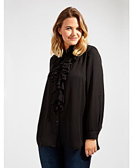 Lovedrobe GB Ruffle Detail Black Blouse