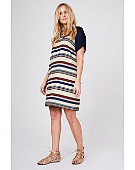 Elvi Striped Shift Dress