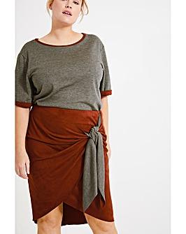 Elvi Suede Effect Contrast Skirt