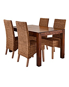 Java Dining Table with Four Bali Chairs