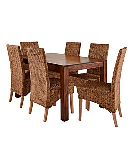 Java Dining Table with Six Bali Chairs