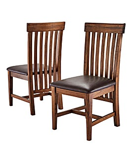 Colonial Pair of Dining Chairs