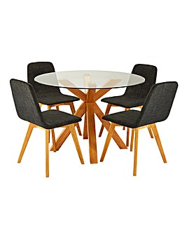 Albany Circular Table and 4 Enzo Chairs