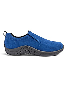 Suede Slip On Shoe Extra Wide Fit