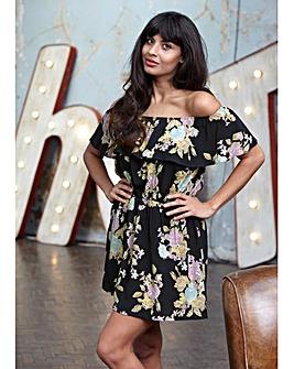 Jameela Jamil Print Off Shoulder Dress