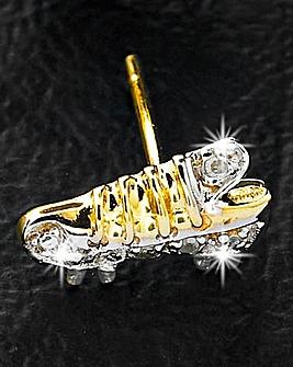 9ct Gold Football Boot Diamond-Set Stud