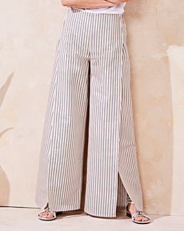 Wrap Linen Stripe Wide Leg Trouser