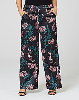 Satin Printed Wide Leg Trouser