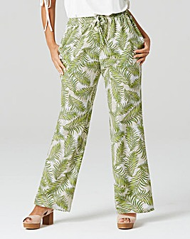 Wide Leg PrintedTextured Crepe Trouser