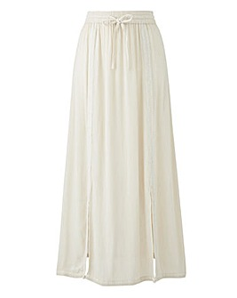 Embroidered Crinkle Maxi Skirt