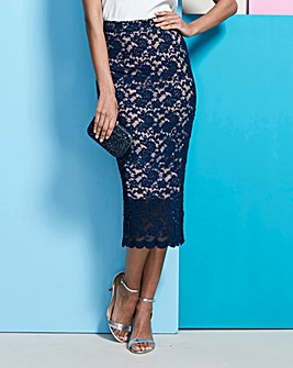 Lace Midi Tube Skirt