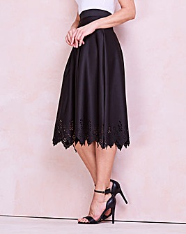 Laser Cut Hem Scuba Prom Skirt