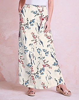 Print Linen Mix Wrap Maxi Skirt
