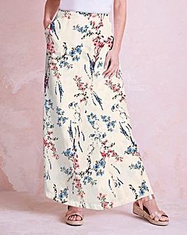 Print Linen Mix Wrap Maxi Skirt