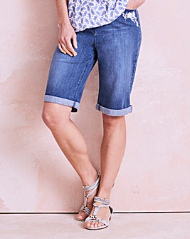 Embroidered Knee Length Denim Shorts