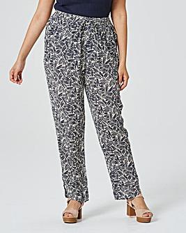 Printed Crinkle Curved Hem Trouser
