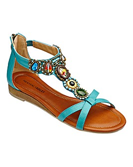 Heavenly Soles Jewelled Sandals EEE Fit