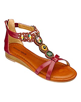 Heavenly Soles Jewelled Sandals E Fit