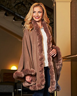 Joanna Hope Faux Fur Trim Cape