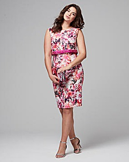 Joanna Hope Print Jewel Trim Dress