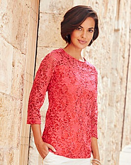 Joanna Hope Sequin Lace Top