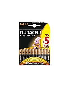 AAA Alkaline Batteries 15 + 5 Free