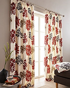Millie Floral Pencil Pleat Curtains