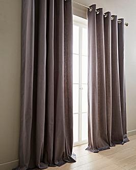 Plain-Dye Sateen Lined Eyelet Curtains